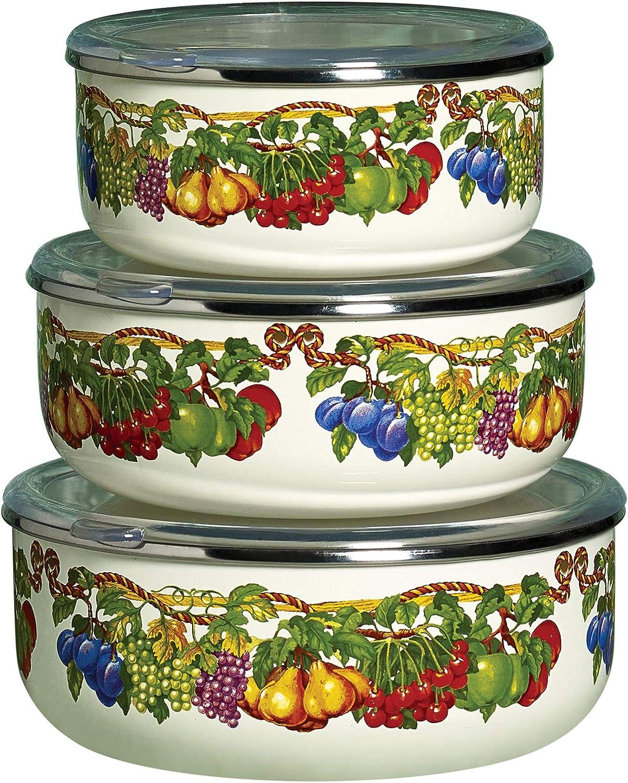 Kensington Garden Collection- Porcelain Enamel Non Stick Non-Corrosive, 6 Piece Covered Mixing Bowl Set
