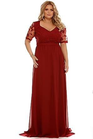 Miss Grey Donna Taglie Forti Vestito da Sera Lungo Manica Corta Plus Size  Abito Cerimonia Pizzo Ricamato Bordeaux 3X-Large  Amazon.it  Abbigliamento d2a48396f5c