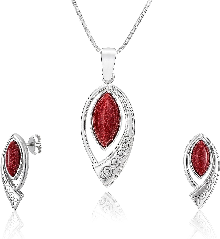 LillyMarie - Set de joyas para mujer, colgante de plata con piedra Río de Oro roja, longitud regulable, estuche para joyas, Día de San Valentín, regalo para ella