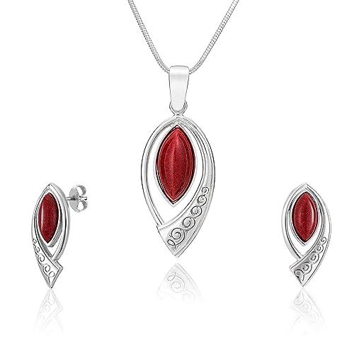 LillyMarie - Set de joyas para mujer, colgante de plata con ...