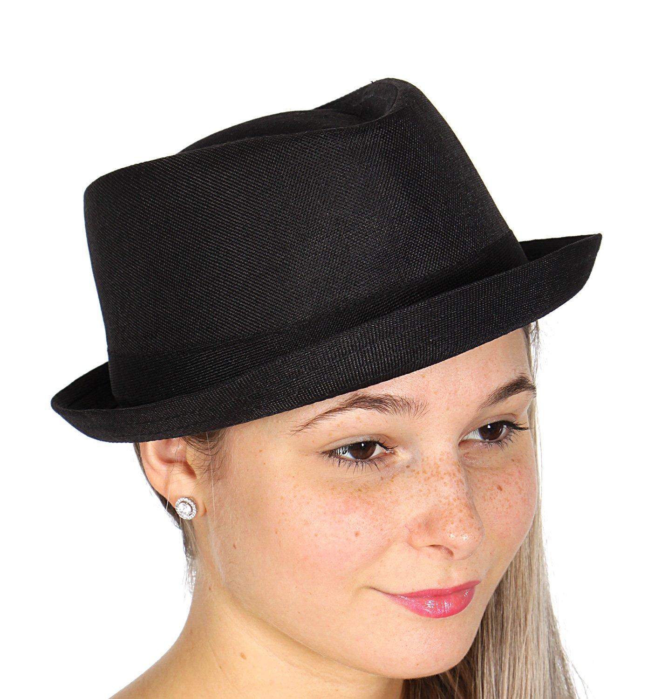 Short Brim Sun Roll up Brim Fedora Hat, Unisex, Sleek Black