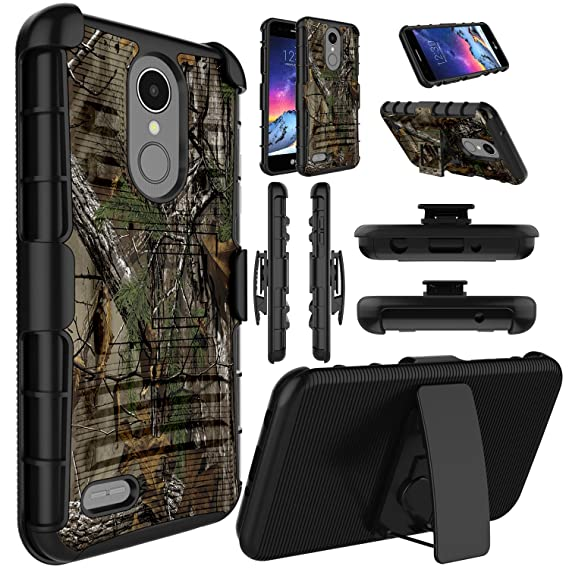 Elegant Choise LG Aristo 3 Plus Case, LG Aristo 3 Case, LG K8S 2019 Case,  LG Tribute Empire Case, Kickstand and Belt Clip Hybrid Holster Dual Layer