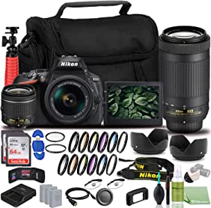 Nikon D5600 DSLR Camera - Bundle - with 18-55mm and 70-300mm Lenses (1580) USA Model + 2X EN-EL14a Battery + 2X SanDisk Ultra 64GB Card + 55mm Color Filter Kit + 58mm Color Filter Kit + Case + More