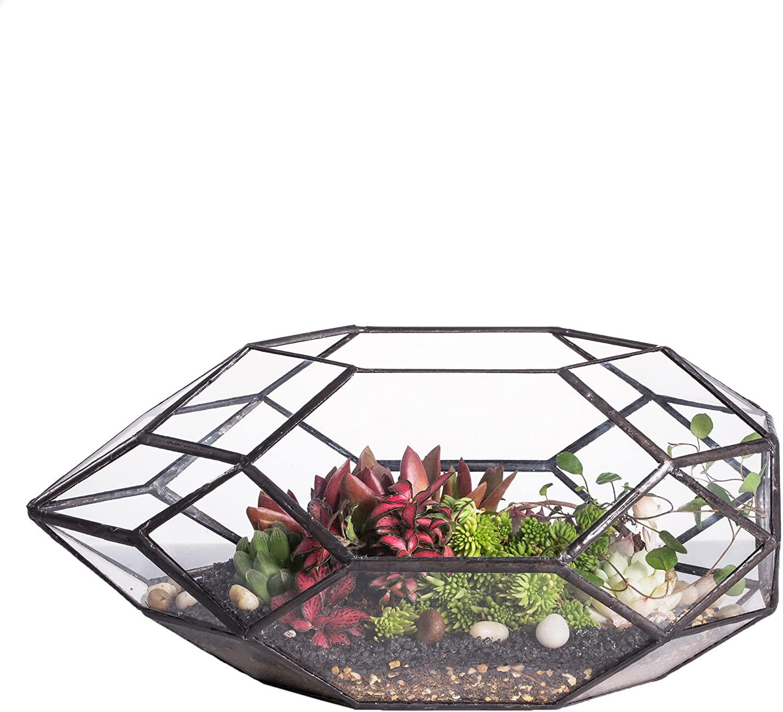 Large Handmade Irregular Polyhedral Geometric Glass Terrarium Planter Indoor Air Plants Holder Window Balcony Display Box Succulent Flower Pot DIY Centerpiece for Wedding Table Garden Decor 11inches