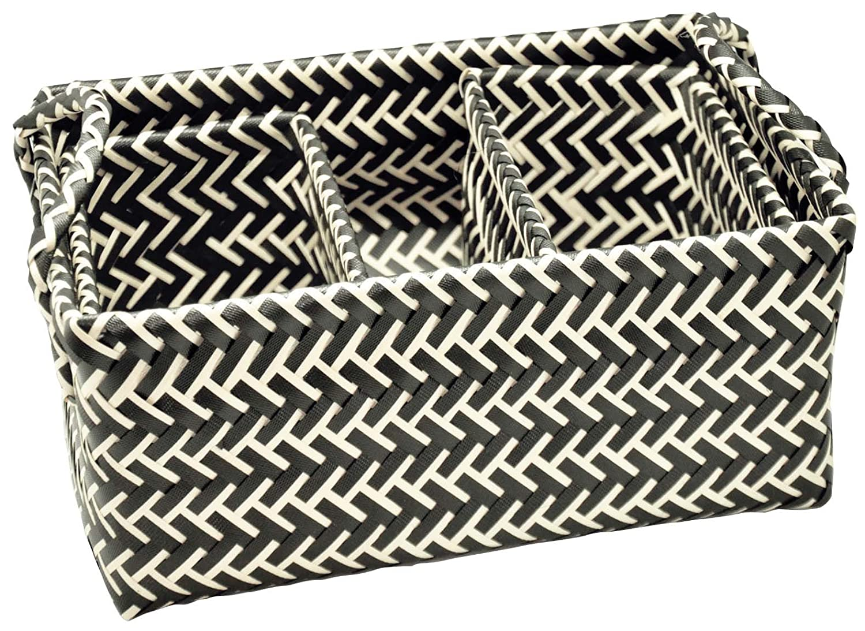 Opportunity 64shi17808670Osaka Set of 3Plastic Basket 31x 22x 14cm Black/White