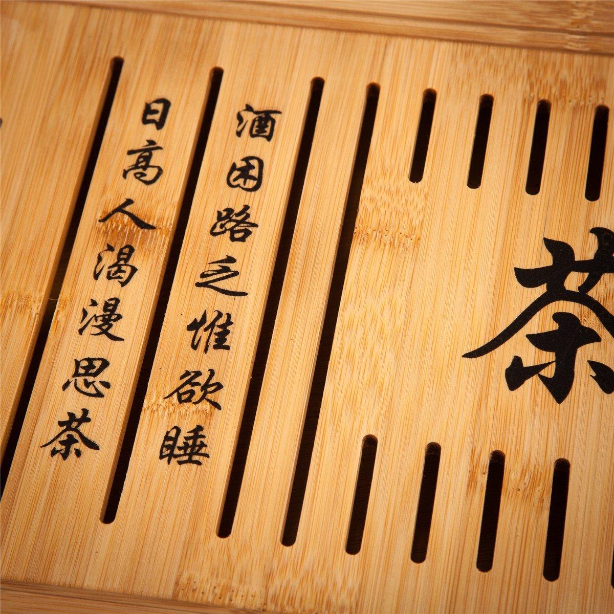 50CM X 30CM X 4.5CM Bamboo Reservoir /& Drainage Type Kung Fu GongFu Tea Table Serving Tray L19.67 x W11.81 x H1.77