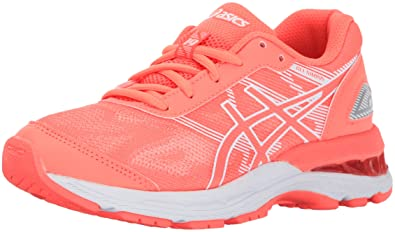 ASICS Unisex-Kids Gel-Nimbus 19 GS Running Shoe, Flash Coral/White