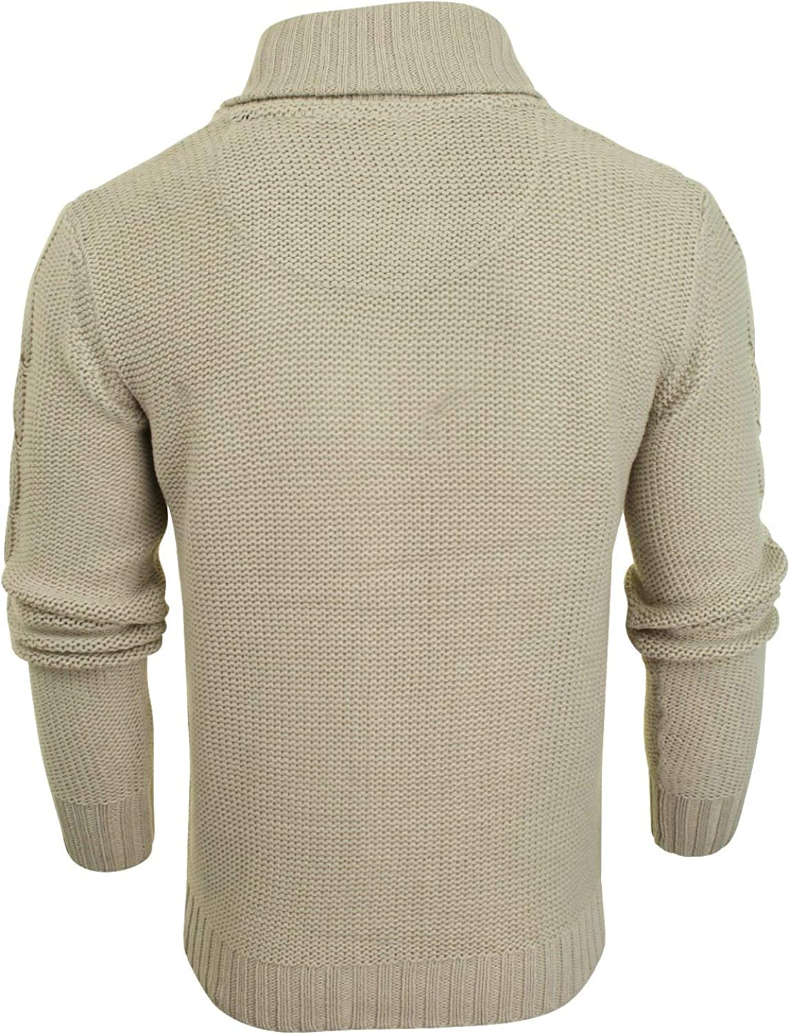 Brave Soul Mens Button-up Cardigan with Shawl Neck /& Cable Knit