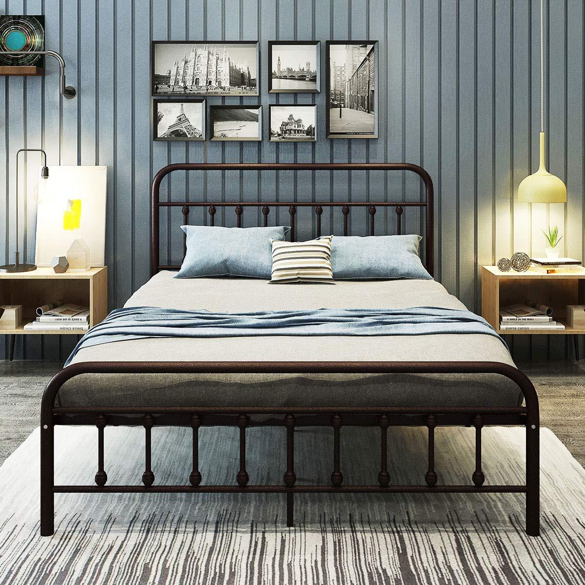 Metal Bed Frame Queen Size Platform with Vintage Headboard and Footboard Sturdy Metal Frame Premium Steel Slat Support Bronze