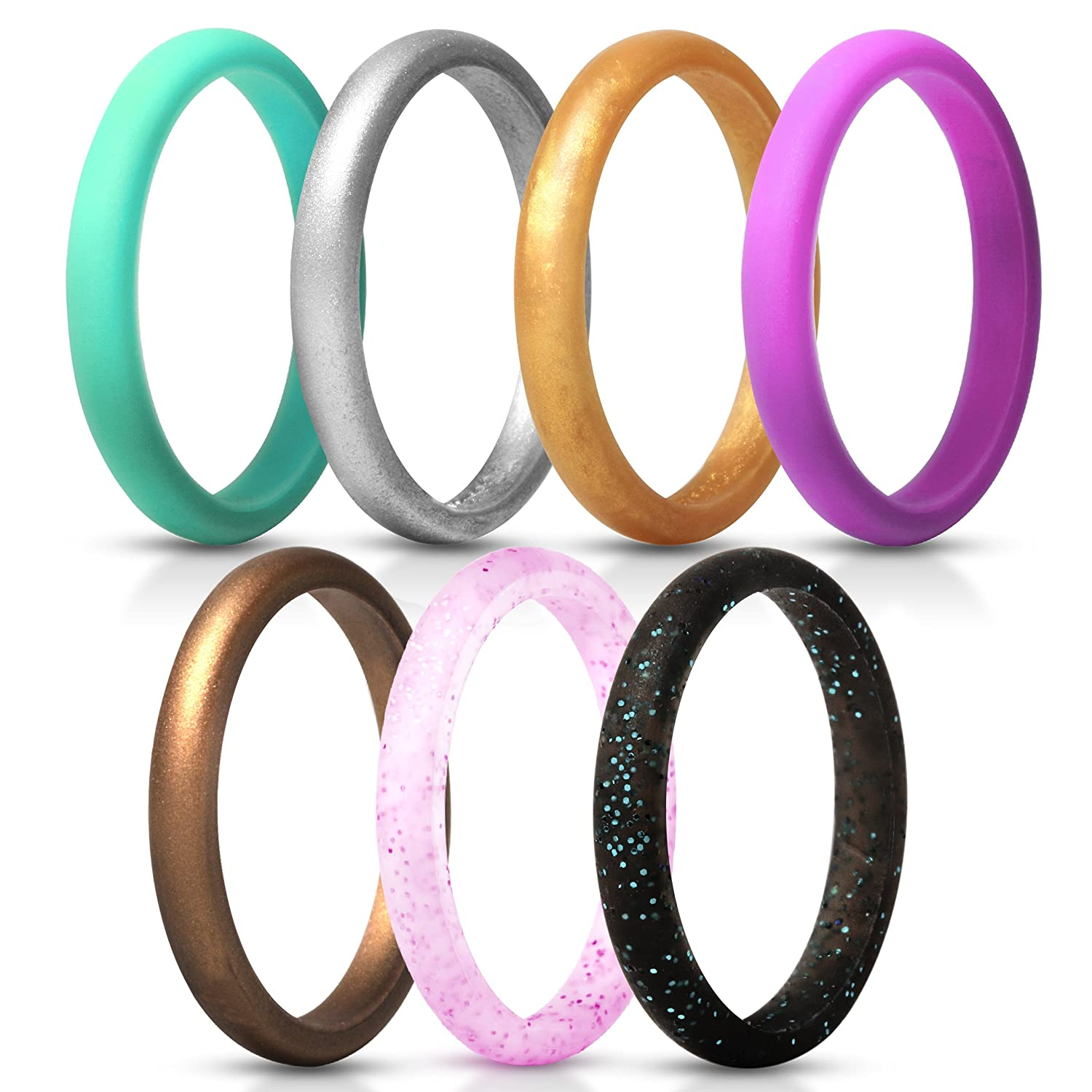 1.8mm Thick 1 Ring 2.5mm Width ThunderFit Womens Thin and Stackable Silicone Rings Wedding Bands 7 Rings