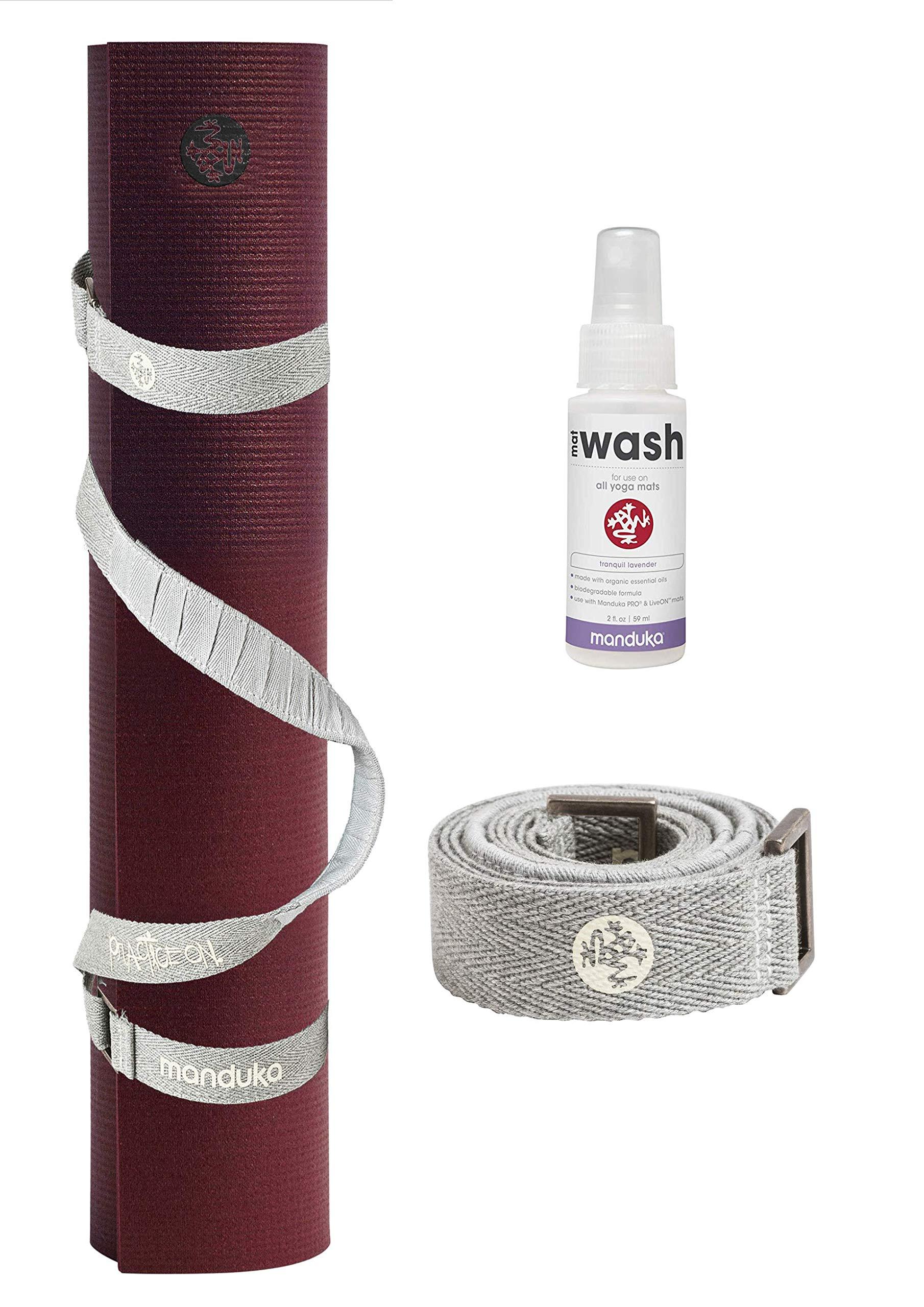 PlayBetter Manduka PRO Yoga and Pilates Mat Bundle | Includes Manduka Yoga Mat Strap & Lavender Mat Wash (Black Verve, Standard (71''))