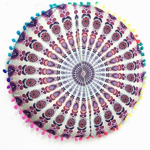 Funda para cojines redondos para el suelo de HKFV con Mandala hindú y diseño bohemio., Pattern C, 43*43cm