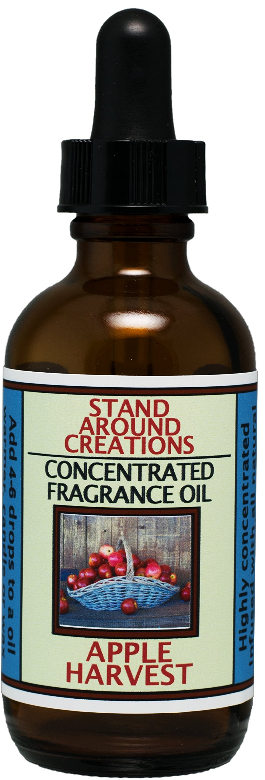 Concentrated Fragrance Oil - Apple Harvest: A ripe apple fragrance w/just a touch of spice - Cinnamon, nutmeg, clove, orange. Infused w/Essential oils.(2 fl.oz.)