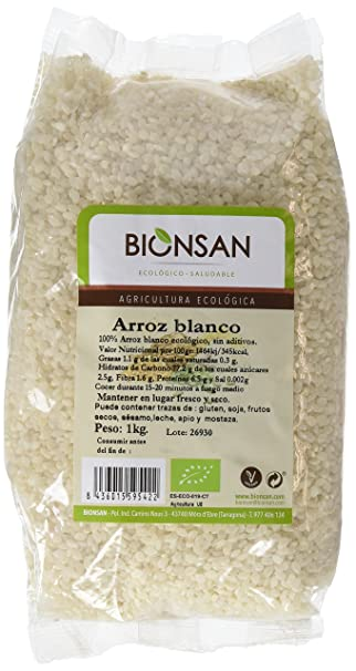 Bionsan Arroz Blanco Redondo - 3 Paquetes de 1000 gr - Total: 3000 gr