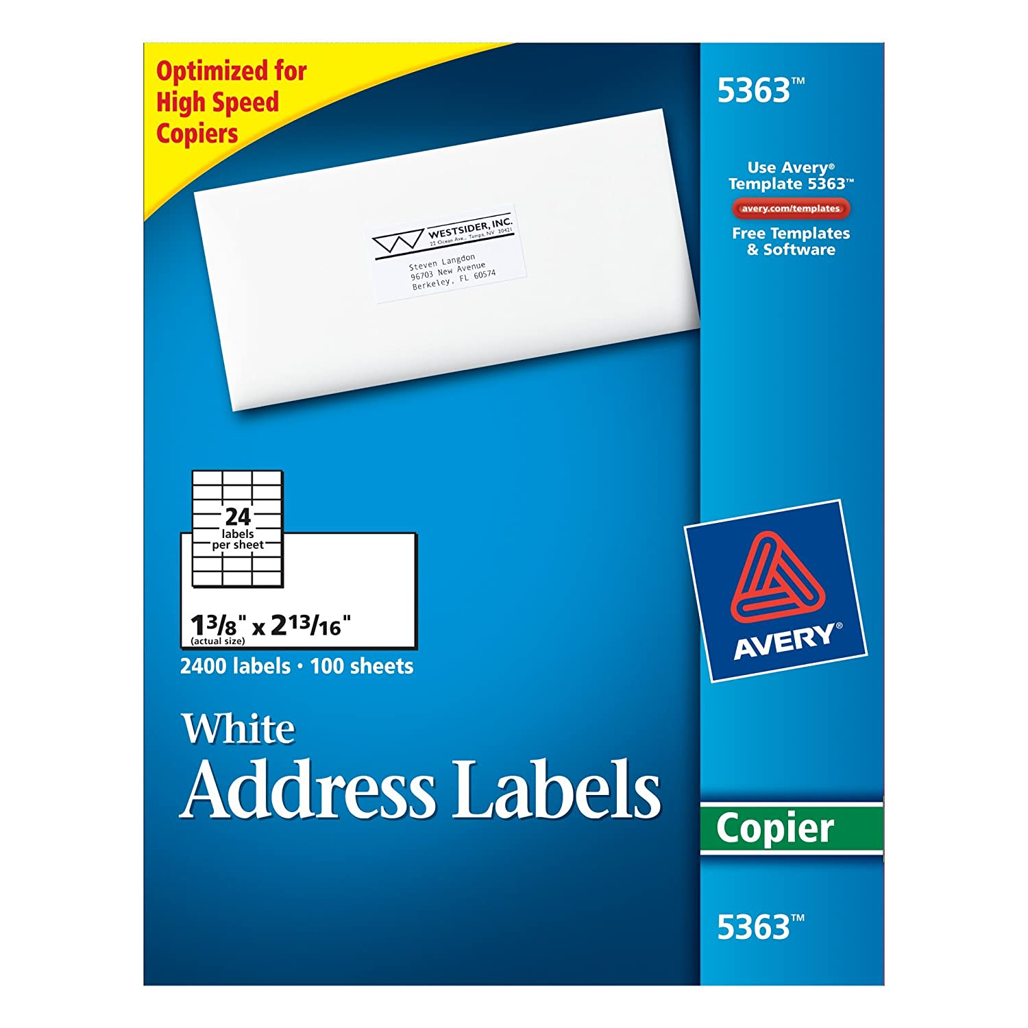 Amazon.com : Avery White Copier Mailing Labels (5363) : Office ...