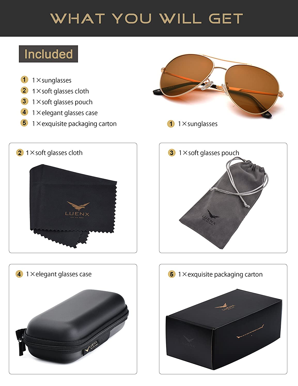 9a9f43ec000 Amazon.com  LUENX Aviator Sunglasses Men Women Non-Mirror Polarized UV400  Metal Frame 60MM (14-Brown