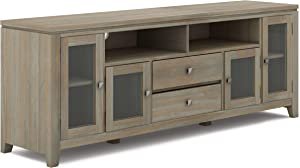 SIMPLIHOME Cosmopolitan SOLID WOOD Universal TV Media Stand, 72 inch Wide, Contemporary, Storage Shelves and Cabinetsfor Flat Screen TVs up to 80 inches, Distressed Grey