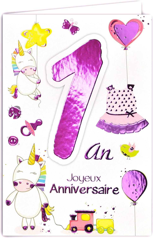 Afie 69 2101 Carte Joyeux Anniversaire 1 An Bebe Fille Tortue Gateaux Cupcakes Fleurs Amazon Fr Fournitures De Bureau
