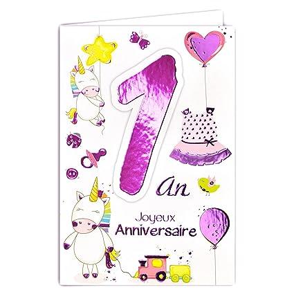69-2001 - Tarjeta feliz cumpleaños de 1 año para bebé niña ...