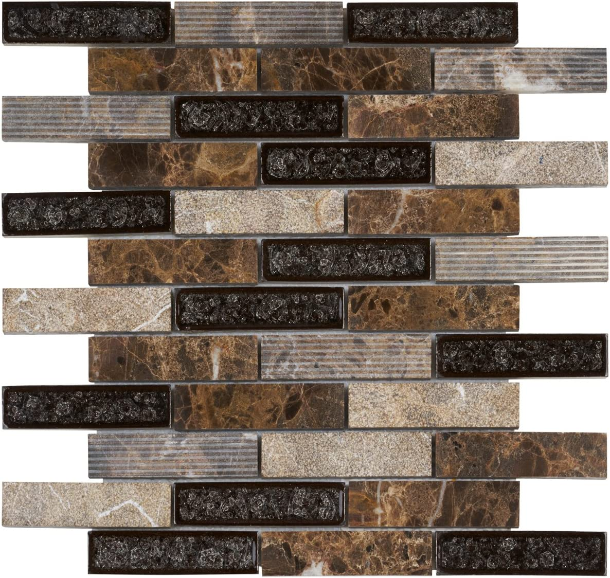 - Modket TDH46MO Brown Emperador Dark Marble Mosaic Tile, Crackle