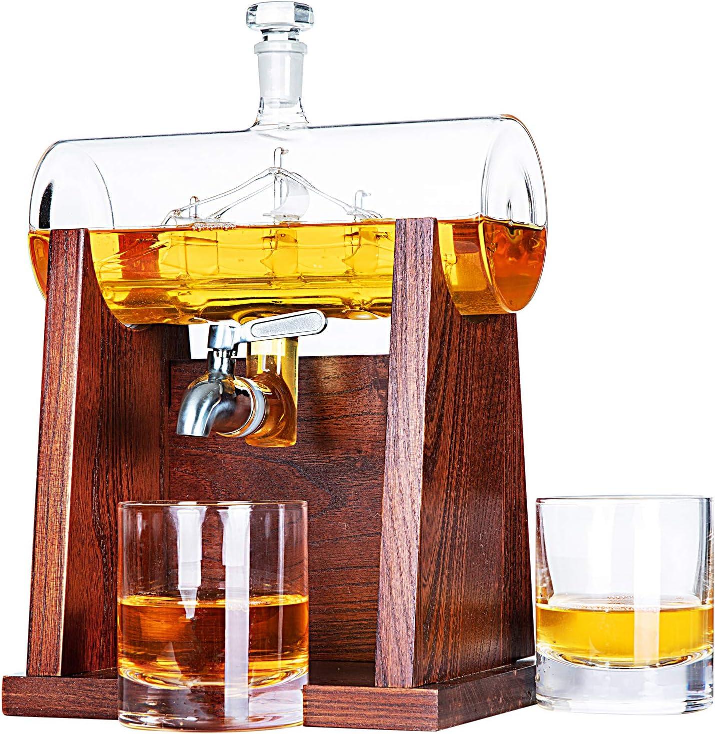 Jillmo Whiskey Decanter Set with 2 Glasses - 1250ml & 42 oz Lead Free Barrel Ship Dispenser with Detachable Wooden Holder Gift for Liquor, Scotch, Bourbon, Vodka, Whisky, Rum & Alcohol