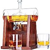 Jillmo Whiskey Decanter Set, 1250ml Whiskey Decanter with 2 Whiskey Glasses