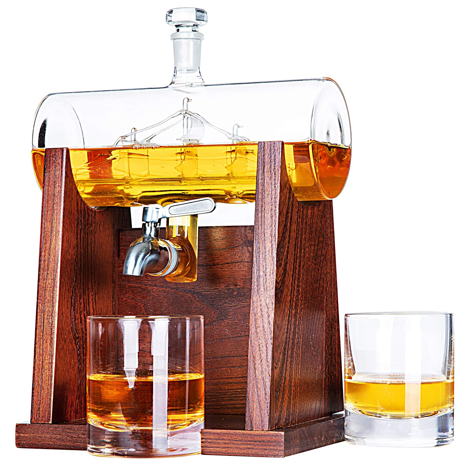 Jillmo Whiskey Decanter Set with 2 Glasses - 1250ml & 42 oz Lead Free Barrel Ship Dispenser with Detachable Wooden Holder Gift for Liquor, Scotch, Bourbon, Vodka, Whisky, Rum & Alcohol by JILLMO