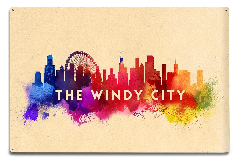 Amazon.com: The Windy City - Chicago, Illinois - Skyline Abstract ...