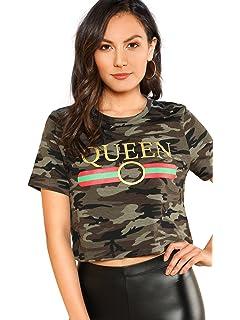f10d3989d3511 WDIRARA Women s Short Sleeve Camo Tee Shirt Striped Print Graphic Crop Top
