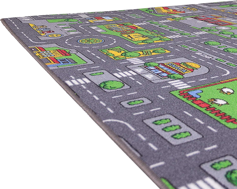 Ma/ße 200x140 cm Kinderteppich Stra/ße Auto Design Ondis24 Kinder Spielteppich gro/ß f/ür Kinderzimmer