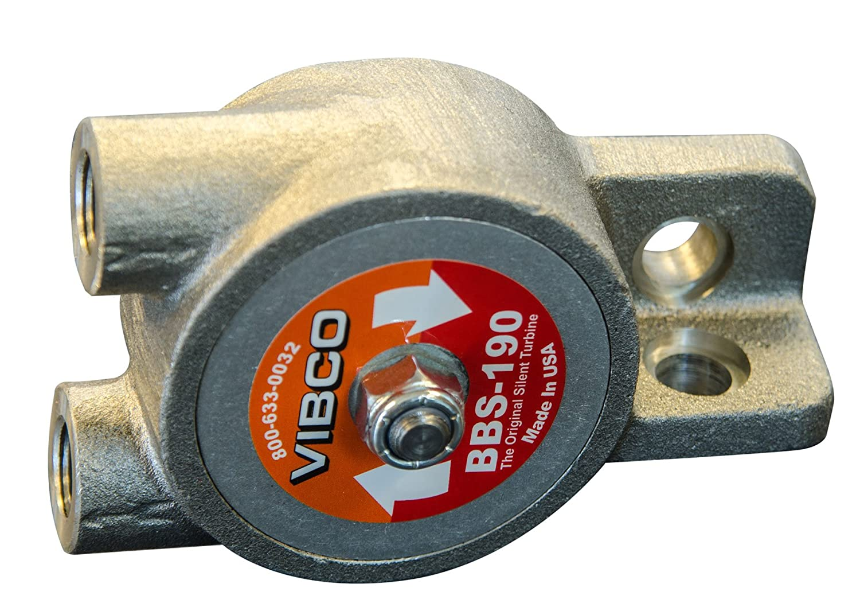 Image of Concrete Vibrators VIBCO BBS-190 Silent Pneumatic Turbine Vibrator, 250 lb. Force, 10000 VPM, 7 CFM, 60 to 80 psi, Threaded Exhaust, Single Bolt Mount