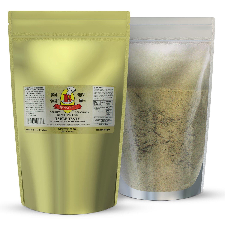 2 pound Salt Substitute - Table Tasty No Potassium Chloride Substitute For Salt - No Bitter Aftertaste - Good Flavor - No Sodium Salt Alternative - 2 Lb Resealable Bag by Benson's Gourmet Seasonings (Image #1)
