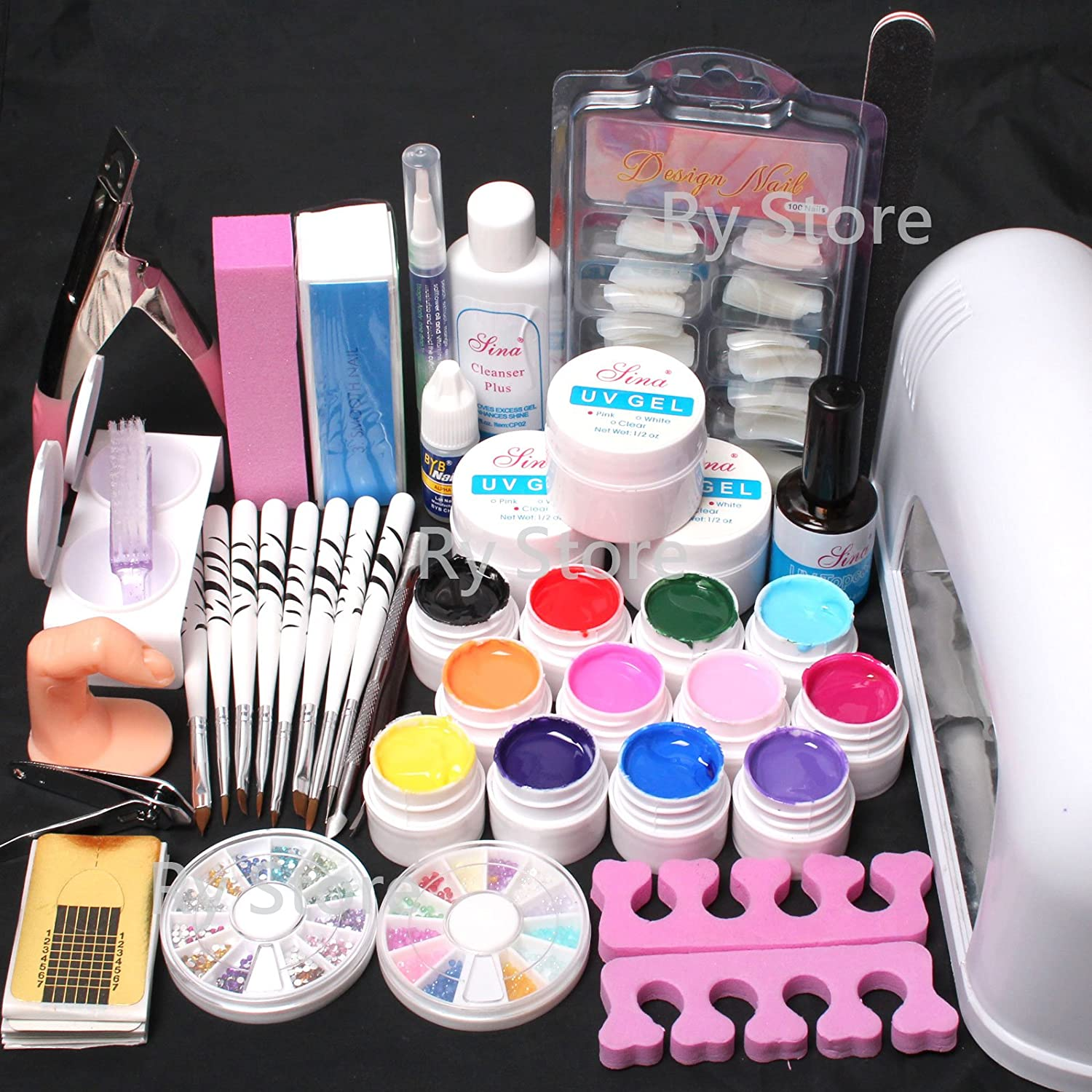 Hot Sale~ US Seller 25 in 1 Combo Set Professional 9W Lamp Dryer Color UV Builder Gel DIY Nail Art Decorations Kit Brush Buffer Cuticle Revitalizer Oil Pen Tools Natural White Nail Tips Rhinestones Pearls Cutter Sanding Files Forms Glue UV Gel Set