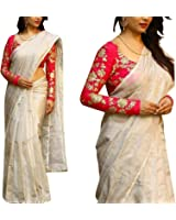 Saree World Women's Chanderi Cotton Solid Saree with Blouse Piece (Beige_Free Size)