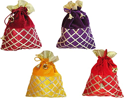 muccasacra Women s Cotton Gota Patti Velvet Potli (Yellow 2d50abf7284d2