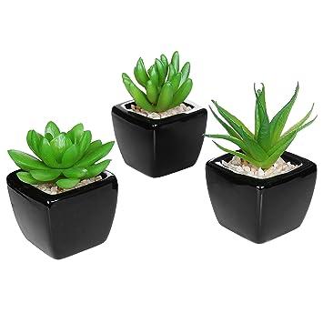 set of 3 modern home decor mini succulent artificial plants with square black ceramic pots - Amazon Home Decor