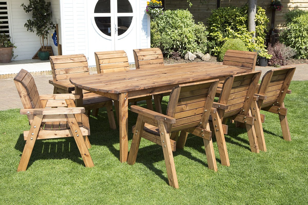 Wooden garden table and 8 chairs dining set outdoor patio solid wood garden furniture amazon co uk garden outdoors