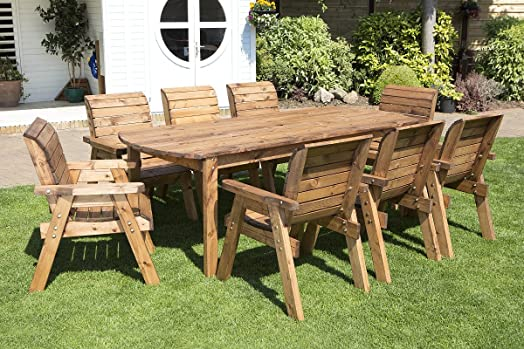HGG Wooden Garden Table and 8 Chairs Dining Set   Outdoor Patio Solid Wood  Garden Furniture. HGG Wooden Garden Table and 8 Chairs Dining Set   Outdoor Patio