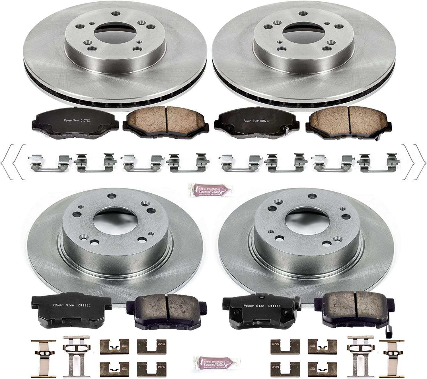 Power Stop KCOE5817B Autospecialty Front Stock Replacement Kit-OE Rotors Ceramic Brake Pads Calipers