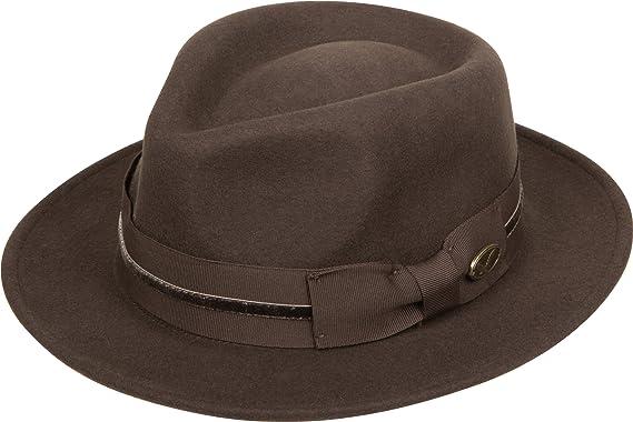 Sakkas 23EH Frank Grosgrain Velvet Stripe Wool Fedora - Brown - M at ... 2036317801c