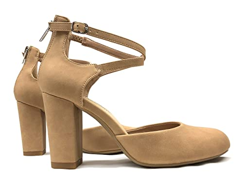 f6f9cd0568c8e City Classified Womens Anytime Closed Toe Ankle Strap Back Zipper Heel Pump  Sandals (9 B(M) US, Dark Sand NB)