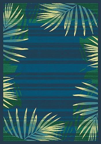 Modern Times Palm Blue Grey Rug Rug Size 5 4 x 7 8