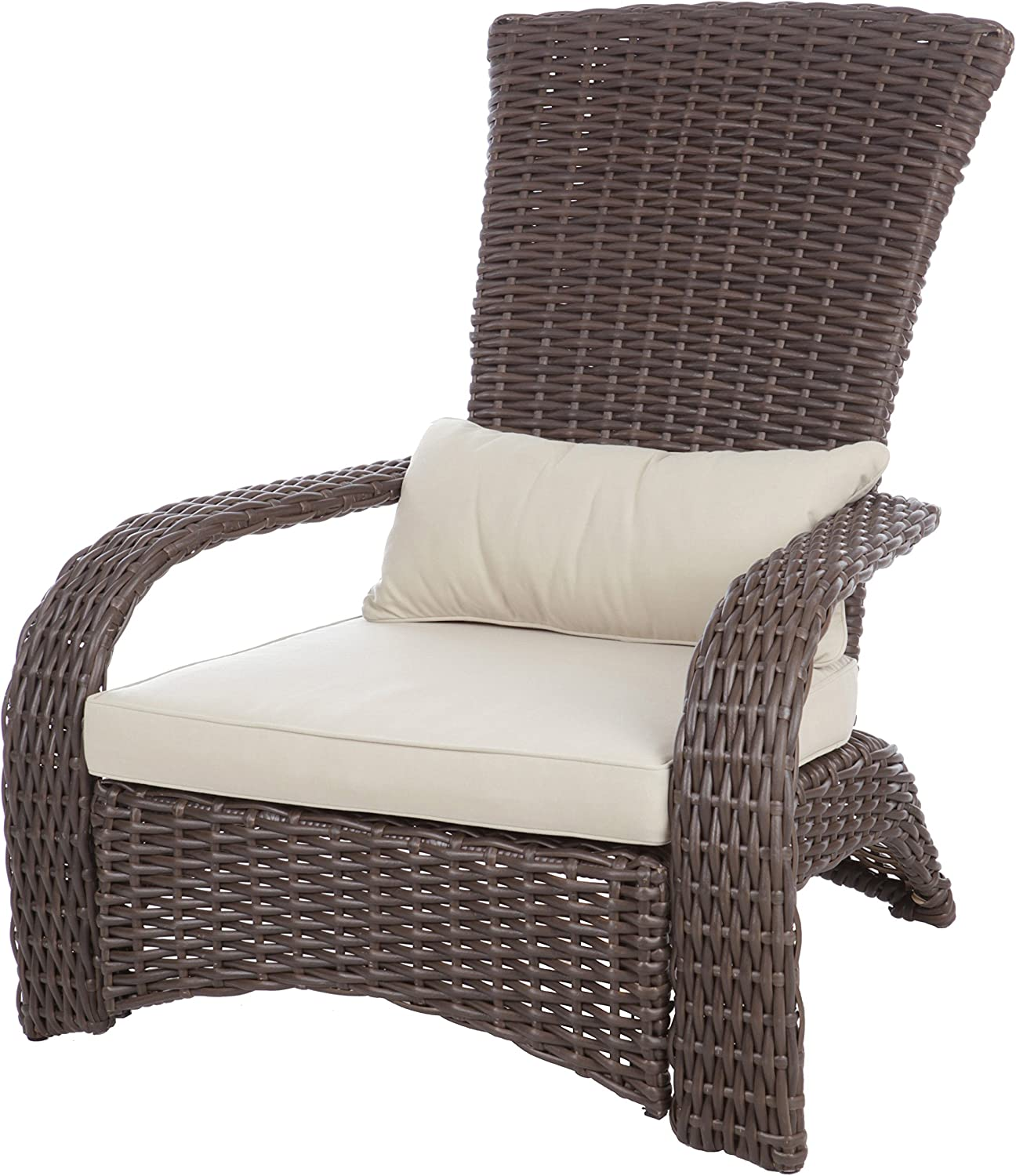 Patio Sense Deluxe Coconino Wicker Chair   All Weather Wicker   Beige Cushion and Lumbar Pillow   Adirondack Style Armchair   For Porch, Lawn, Garden, Backyard, Balcony, Deck, Pool, Indoor, Outdoor  : Home & Kitchen