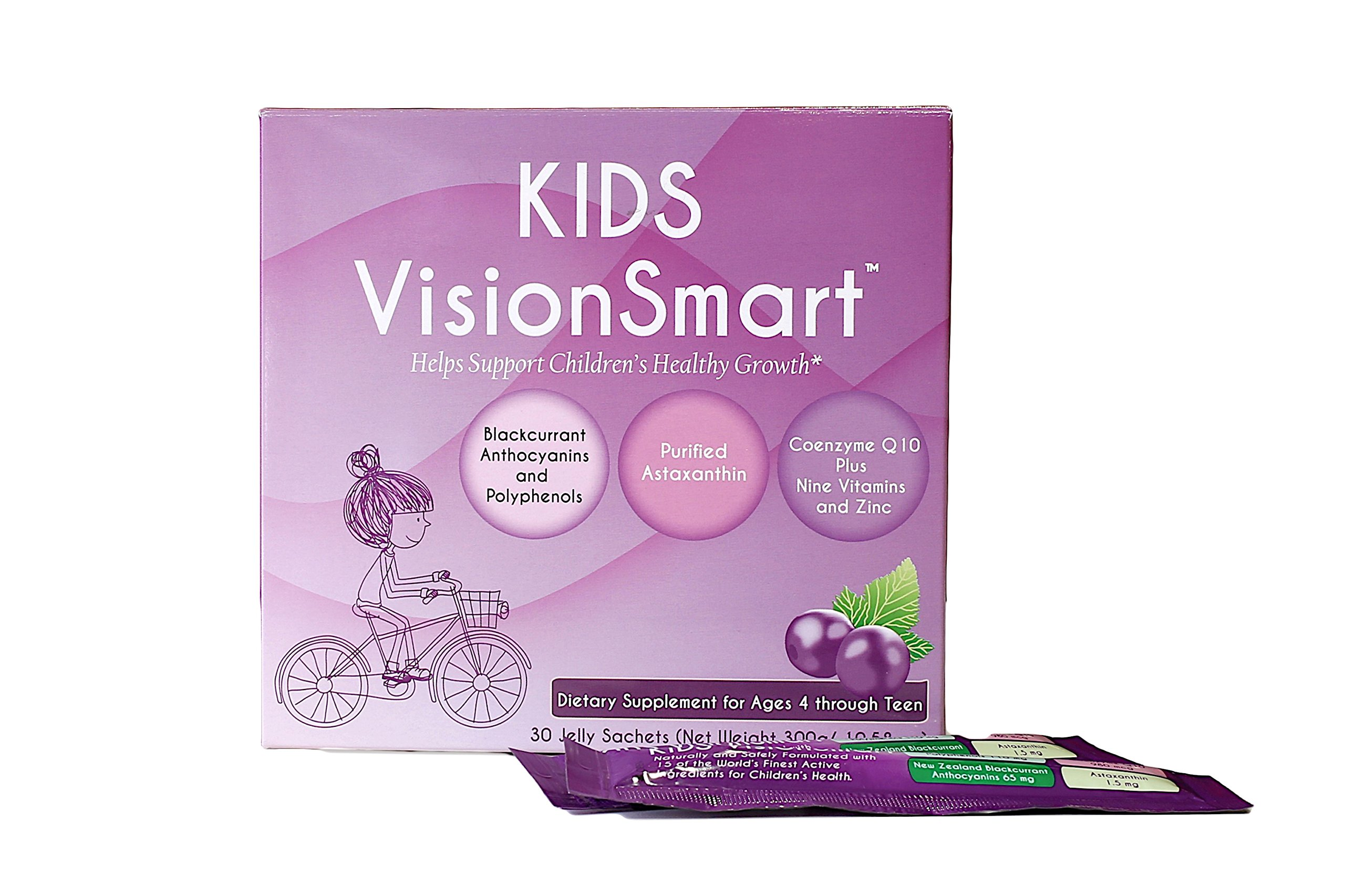 Vision Smart Center - Kids Multivitamin, Jelly Based Super Supplement made of Premium Ingredients from new Zealand Anthocyanin, Astaxanchin, CoQ10 | 30 Jelly Sachets