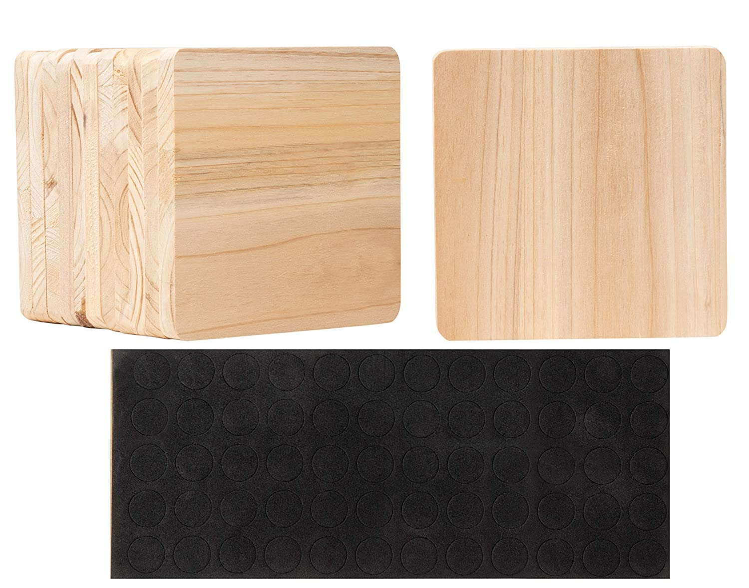 Wood Coasters - 12-Pack Unfinished Square Wood Coasters with Non-Slip Foam Dot, Wooden Drink Coasters, Cup Coasters for Home, Kitchen, Office Desk, Art Craft DIY Project, 3.7 x 3.7 x 0.4 Inches