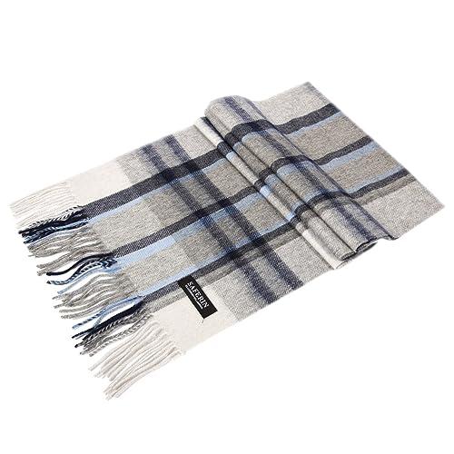 Saferin hombres de las mujeres de cachemira y lana de cordero de la tela escocesa suave y bufanda caliente con la caja de regalo