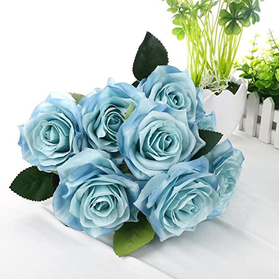 Amazon.com: Silk Rose Blue 10 Heads SOLEDI Artificial Flower French ...