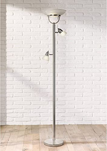 3-in-1 Design Modern Torchiere Floor Lamp 3-Light Brushed Steel White Glass Shades Pole Dimmer