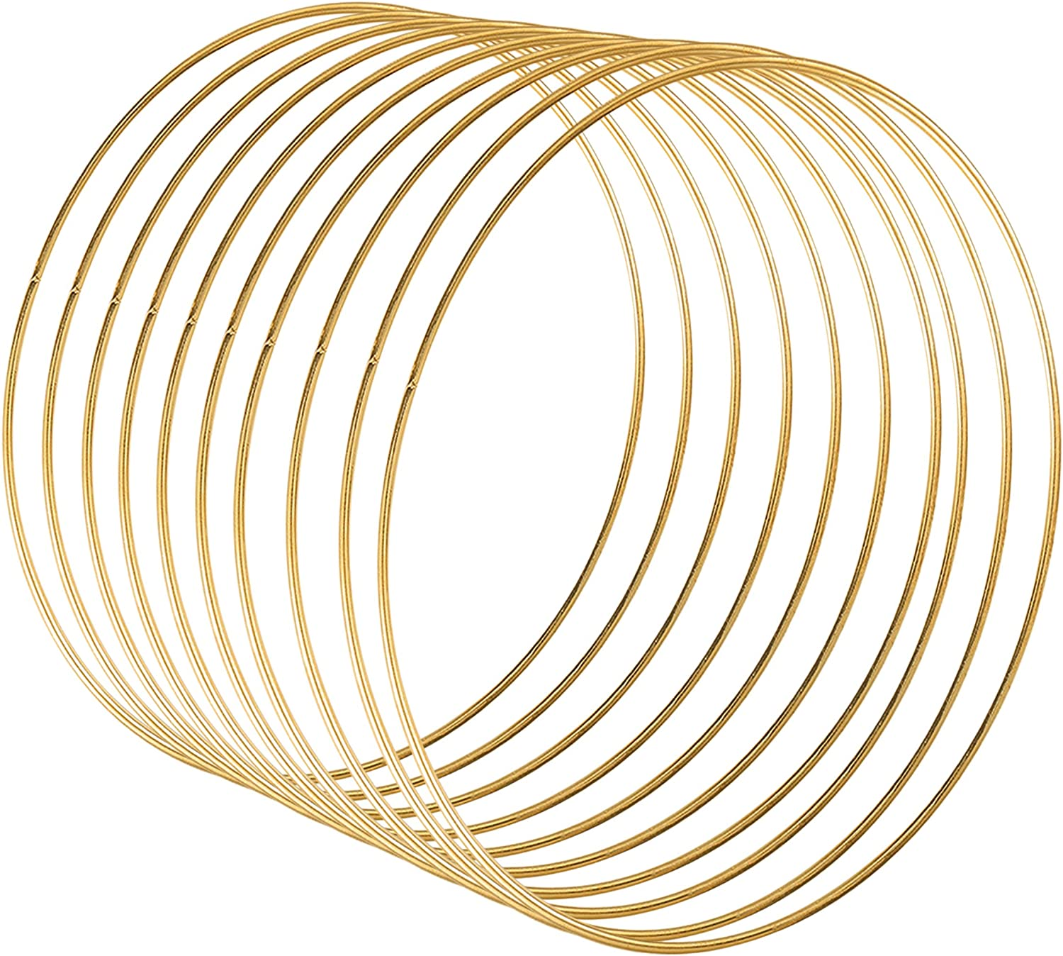 Sntieecr 10 Pack 12 Inch Large Metal Floral Hoop Wreath Macrame Gold Hoop Rings for Making Wedding Wreath Decor and DIY Dream Catcher Wall Hanging Crafts (10)