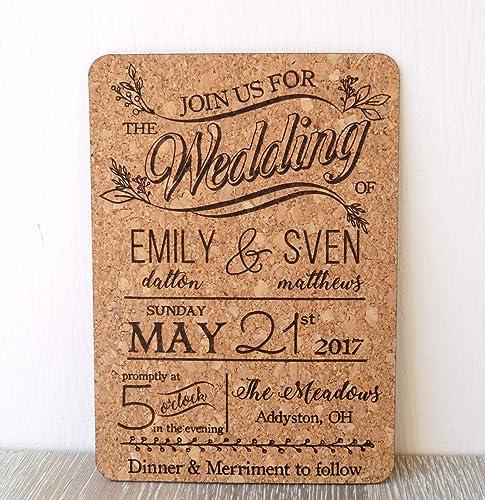 Amazon Com Rustic Cork Wedding Invitation Wedding Invites Natural